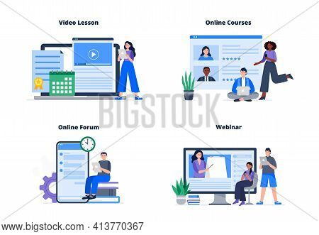 Set Of Online Course Concepts. People Choose An Online Course, Watch A Video Lesson And Webinar, Com