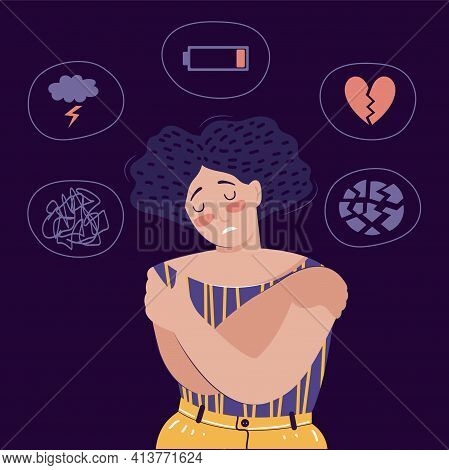 Frustrated Woman With Nervous Problem Feel Anxiety, Confusion, Crisis, Tired, Stress. Mental Disorde