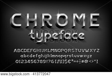Chrome Alphabet Font. 3d Metal Letters, Numbers And Punctuation With Shadow. Stock Vector Typeface F
