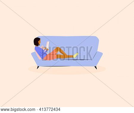 Young Woman Laying On The Sofa And Reading Book At Home. Black Skin Female Character Reading Book. S