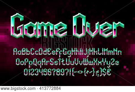 Game Over Alphabet Font. Pixel Vivid Gradient Letters, Numbers And Punctuations. 80s Arcade Video Ga