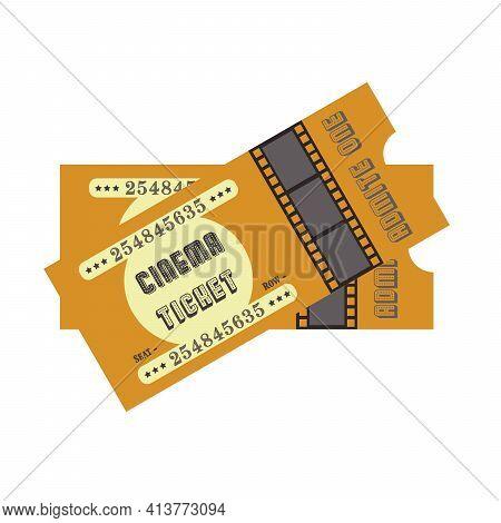 Vintage Cinema Ticket With Cine-film On Blue Background. Ticket Retro Design Movie Illustration.