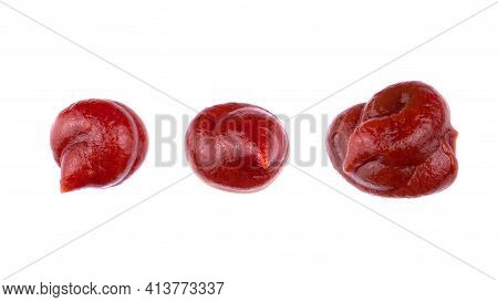 Ketchup Splashes, Group Of Objects. Arrangement Of Red Ketchup Or Tomato Sauce, Isolated White Backg