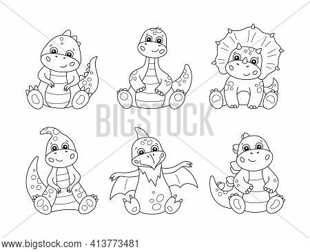 Cute Little Dinosaurs For Kid Coloring Books. Children Puzzle Game. Black And White Cartoon Vector I
