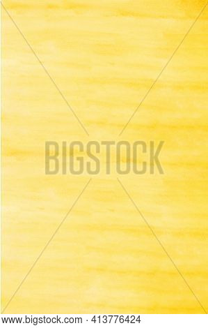 Vertical Yellow Watercolour Background, Watercolour Painting Soft Textured On Wet White Paper Backgr