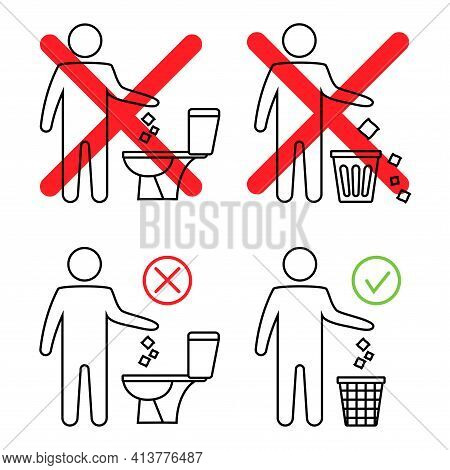 Do Not Litter In The Toilet. Toilet No Trash. Keeping The Clean. Man Littering In Toilet. Forbidden