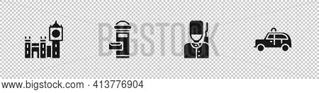 Set Big Ben Tower, London Mail Box, British Soldier And Taxi Car Icon. Vector