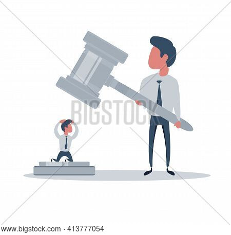 Justice And Law. Accused Person In The Court Waiting For Issuance Of The Verdict. Vector Illustratio