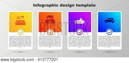 Set Boat With Oars, Car, Submarine And Hatchback Car. Business Infographic Template. Vector