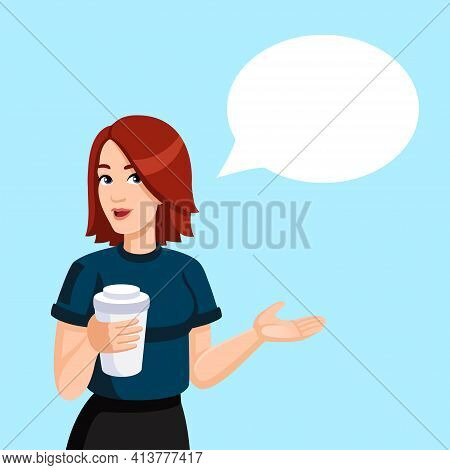 A Redheaded Girl Holding A Paper Cup Of Coffee In Her Hands. Female, Cartoon, Flat, Vector  Digital