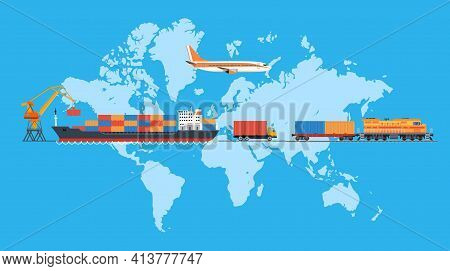 Cargo Logistics Transportation. Shipping, Delivery Car, Ship, Plane Transport On A Background Map Of