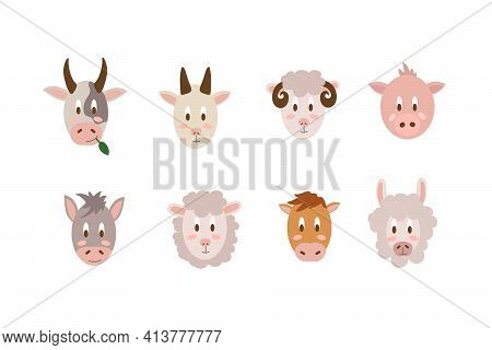 A Set Of Portraits Of Farm Animals. Vector Collection Illustration Of Livestock Isolated On A White