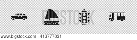 Set Hatchback Car, Yacht Sailboat, Traffic Light And Bus Icon. Vector