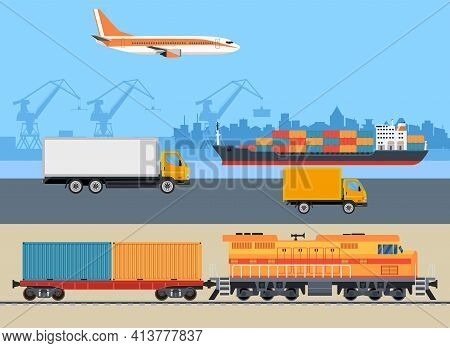 Cargo Logistics Transportation. Ship, Truck, Car, Train, Airplane. Import Export Transport Industry.