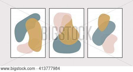 Abstract Blotch Shape. Liquid Shape Elements. Set Of Modern Graphic Elements. Fluid Dynamical Colore