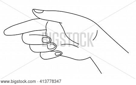 Hand Pointing With Index Finger, Indicating Sign