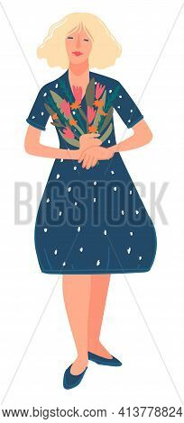 Blond Woman Holding Bouquet Of Flowers In Hands