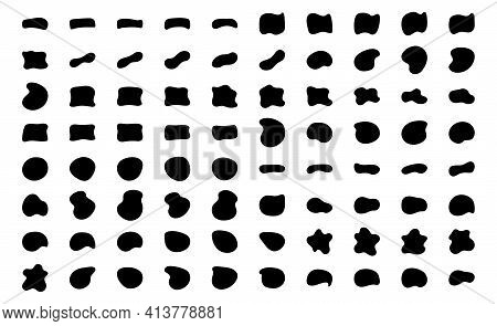 Blob Shapes Vector Set. Organic Abstract Splodge Elemets Monochrome Collection. Inkblot Simple Silho