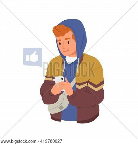 Happy Young Man Using Smartphone App, Social Media And Surfing Internet. Modern Teenager Holding Mob