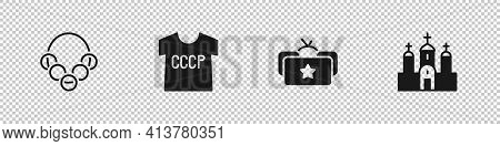 Set Russian Bagels, Ussr T-shirt, Ushanka And Church Building Icon. Vector