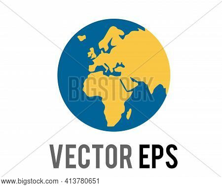 The Isolated Vector Globe Showing Europe And Africa In Green Against Blue Ocean Icon, Represent Vari