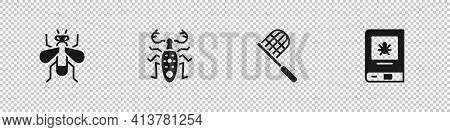 Set Insect Fly, Beetle Deer, Butterfly Net And Book About Insect Icon. Vector