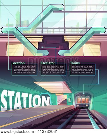 Cartoon Infographic With Train In Metro Station