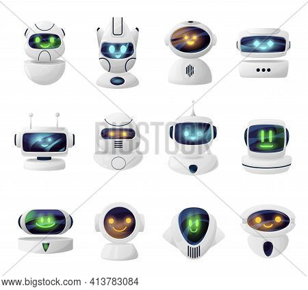 Robots, Androids Heads With Cute Faces On Screen. Smiling Androids Cartoon Characters, Artificial In
