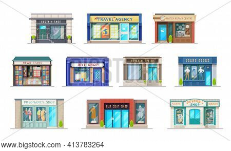 Store Or Shop Building With Storefront Window Cartoon Vector Icons Of Retail Business. Isolated Faca