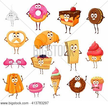 Cartoon Sweets And Bakery Funny Characters. Meringue, Donut, Chocolate Cake And Cookie, Pretzel, Cro