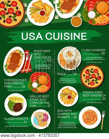 American Cuisine Food Menu, Restaurant Steaks And Cafe Lunch, Vector Usa Authentic Dishes, Vector. U