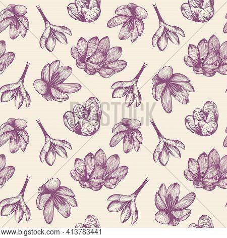 Saffron Seamless Pattern Sketch. Crocus Flower Pattern. Hand-drawn Vector Illustration