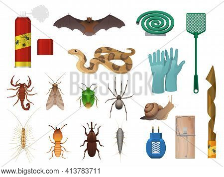 Agricultural, House Pests And Insects Control Icons. Snake, Bat And Scorpion, Stink Bug, Spider And