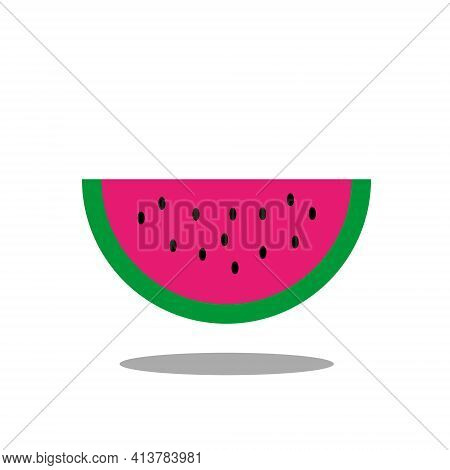 Slice Of Magenta Watermelon With Green Peel, Black Seeds And Shadow Isolated On White Background