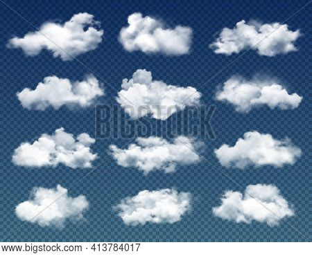 Clouds In Cloudy Sky Realistic Vector Design On Transparent Background. Blue Heaven With 3d White Cl