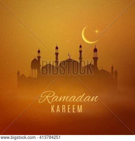 Ramadan Kareem Holiday Arabian Mosque Vector Eid Mubarak Design. Islam Religion Masjid And Minaret T