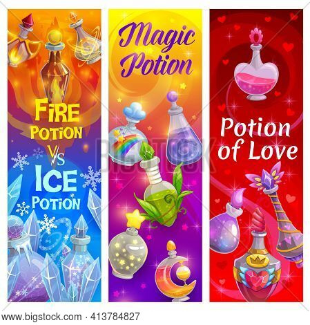 Potion Of Love In Bottles, Banners With Magic Poison Alchemy, Vector. Love Potion And Elixirs, Carto