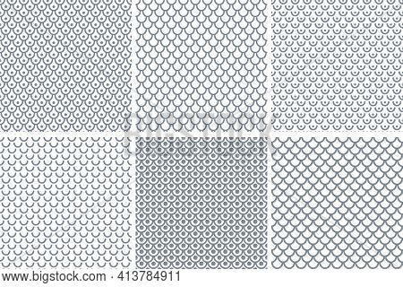 Set Of Abstract Seamless Patterns In Fish Scale Design. Vector Art.