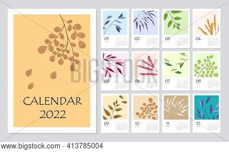 2022 Calendar Planner With Abstract Modern Floral Elements. Corporate Week. Template Layout, 12 Mont