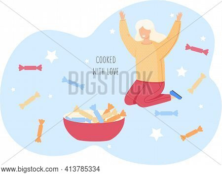 Woman Is Surrounded By Candies. Cooked With Love. Happy Girl Raises Her Hands Up Delights In Sweets