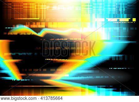 Lcd Screen Critical Fail Or Broke Digital Glitch Backdrop. Crushed Or Mashed Computer, Cellphone Liq