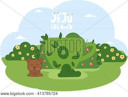 Traveling To Asia By Landmark Osulloc Tea Museum In Jeju Island. Topiary Green Cup In Cartoon Style