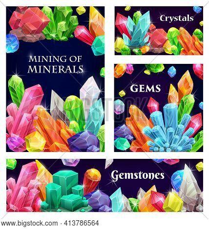 Crystal Gems, Vector Gemstones Cartoon Precious And Semiprecious Jewel Rocks, Gem Stones. Natural Mu