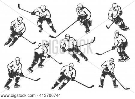 Ice Hockey Players Vector Monochrome Sport Team Wear Uniform And Helmet With Sticks In Motion. Champ