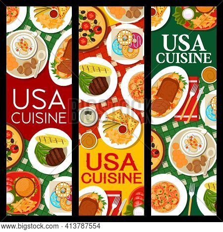 Usa Food, American Cuisine Menu For Restaurant And Cafe, Vector Banners. Traditional American Cuisin