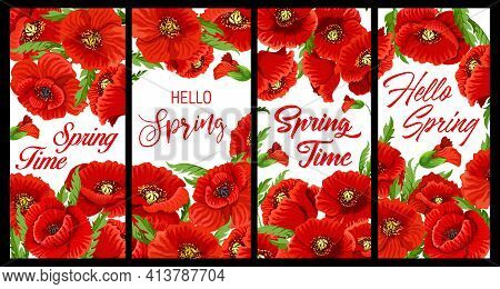 Red Poppy Flowers Spring Banners. Springtime Celebration Posters With Flowering Common Or Field Popp