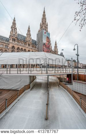 Vienna, Austria - Feb 7, 2020: Empty Rink Outside City Hall In Winter Morning