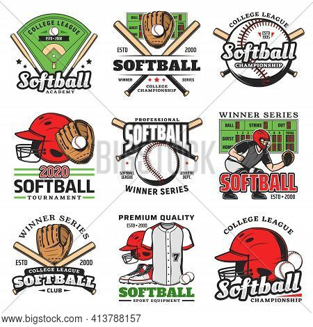 Softball Tournament, Sport Game Vector Icons. Balls, Bats And Stadium Play Field, Pitcher Player Hel