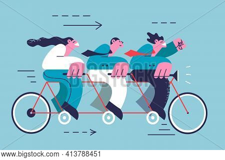 Teamwork, Cooperation, Success In Business Concept. Group Of Young Business Partners Riding Tandem B