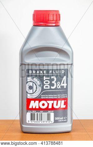 Pruszcz Gdanski, Poland - March 21, 2021: Motul Brake Fluid Dot 3 And 4.